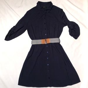 BCX Navy Blue Shirtdress